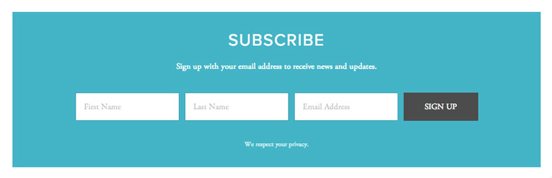 Email Newsletter Page / Feature